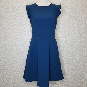 Ann Taylor LOFT Teal Flutter Sleeve Dress Size 2